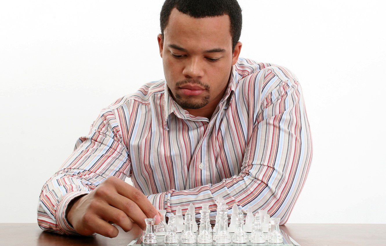 Photo wallpaper chess, white background, male, Board, shirt, guy, sitting, figures, thought, chess player, at the table