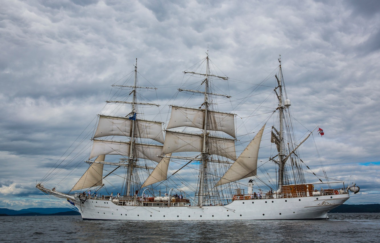 Photo wallpaper Ship, Clouds, Sailboat, The ship, Sails, Overcast, Christian Radich, Training Ship, by Inge Wallumrød, Inge …