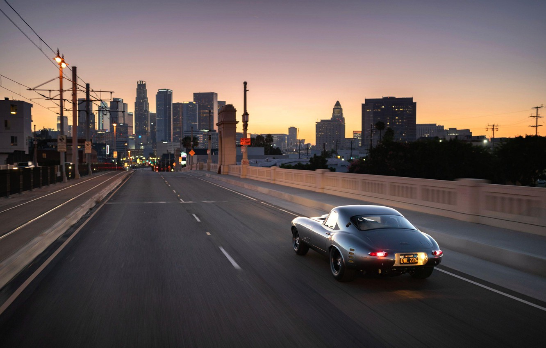 Photo wallpaper Road, The city, Sports car, Jaguar E Type