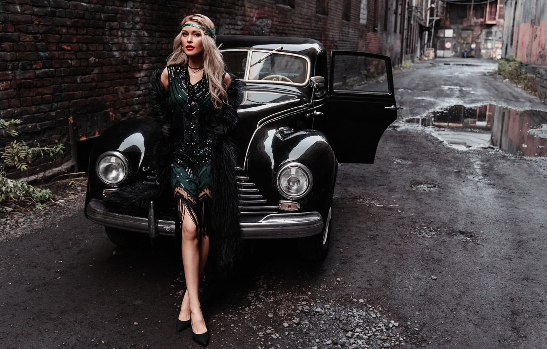 Photo wallpaper machine, auto, girl, style, retro, dress, blonde, lane, Альбина Пономарёва