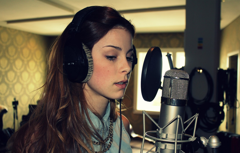 Wallpaper Girl Headphones Microphone Singer Lena Meyer