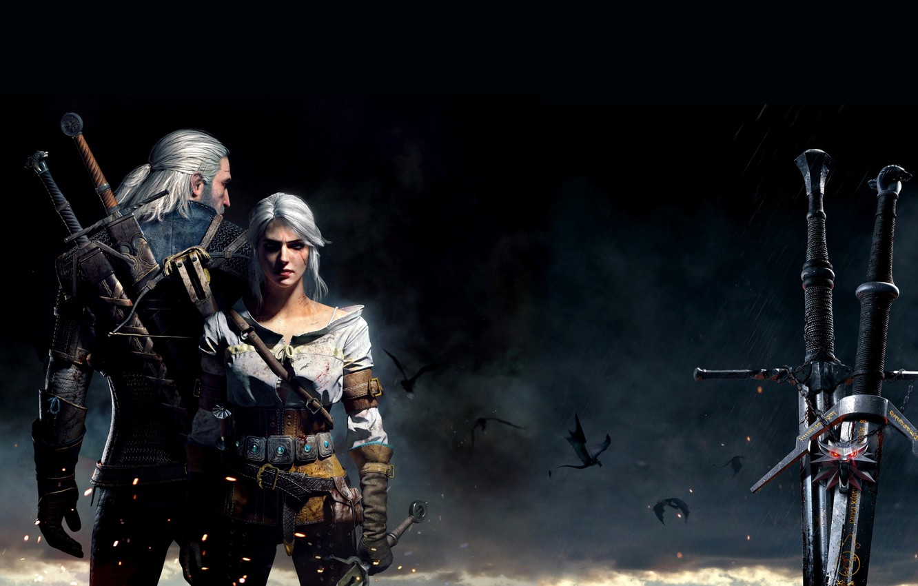 Photo wallpaper Swords, Geralt, Medallion, Geralt of Rivia, White Wolf, The Witcher 3 Wild Hunt, The Witcher …