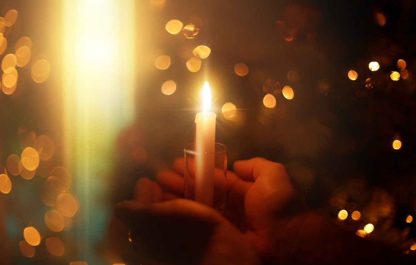 Photo wallpaper light, heat, holiday, candle, hands