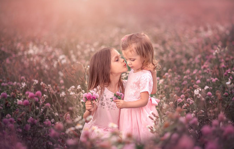 Photo wallpaper field, summer, love, flowers, nature, children, girls, tenderness, kiss, clover, grass, bouquets, Козел Марта