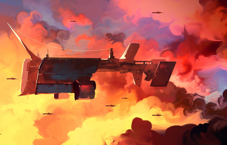 Photo wallpaper The sky, Clouds, Figure, Ship, The ship, Art, Dominik Mayer, by Dominik Mayer, Lumbering Giant