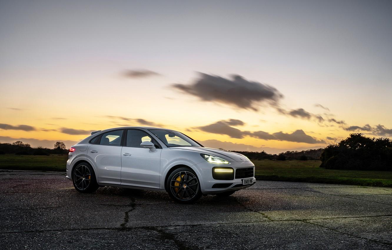 Photo wallpaper auto, the sky, sunset, lights, Porsche, Turbo, Cayenne