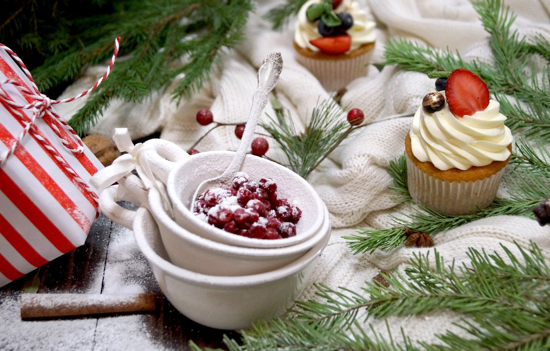 Photo wallpaper winter, berries, holiday, Christmas, New year, cream, decor, cupcakes, powdered sugar, cranberry