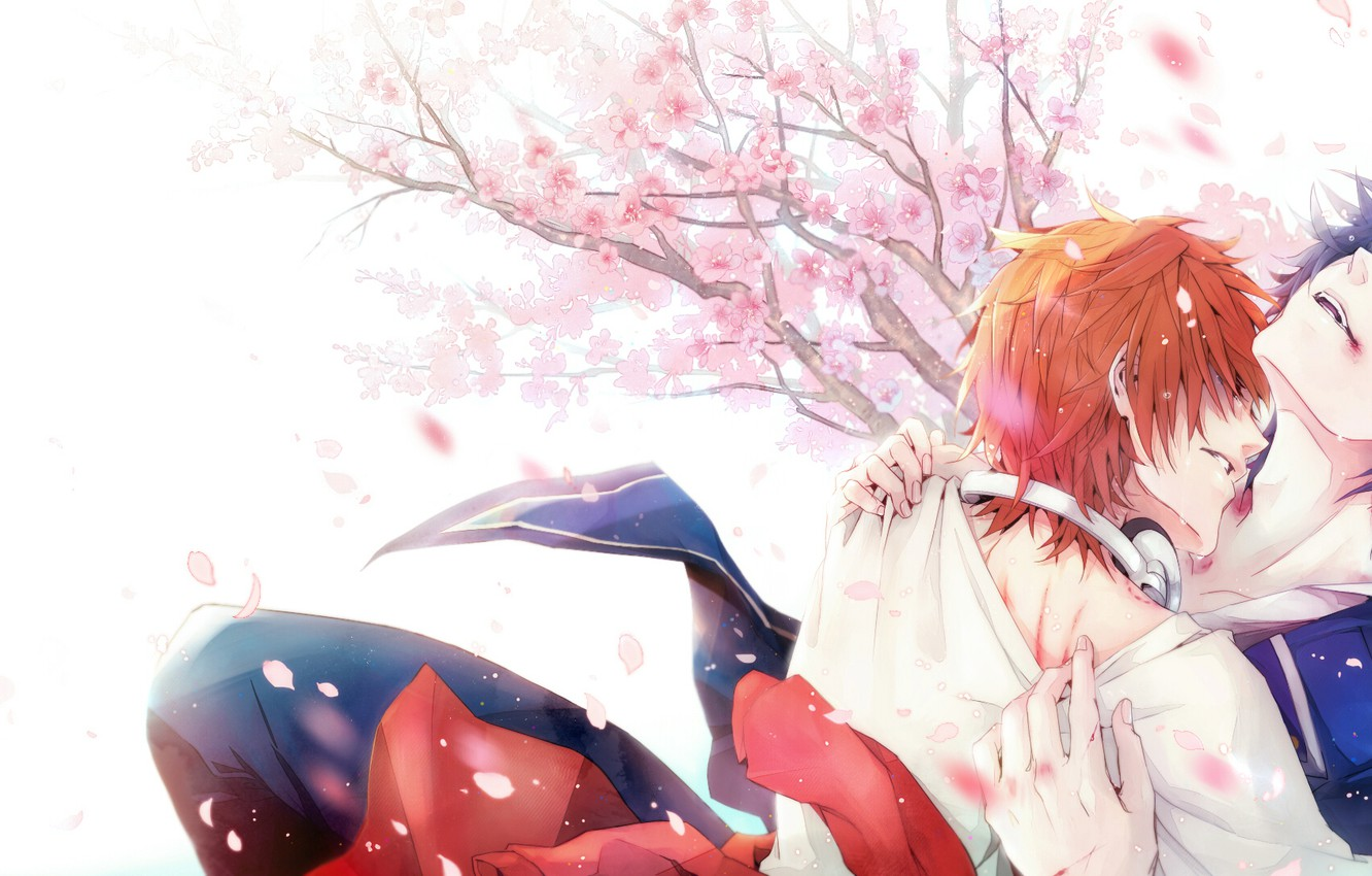 Photo wallpaper passion, hugs, military uniform, ryzhyi, cherry blossoms, two guys, Project Key, K Project, Yata Misaki, …