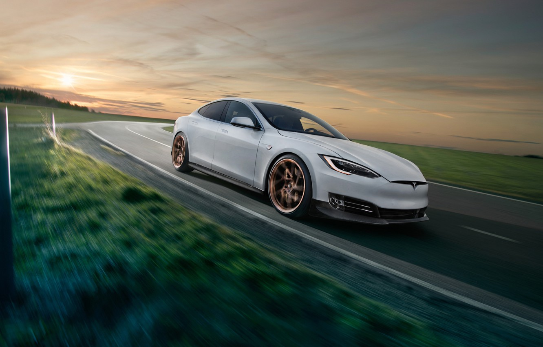 Photo wallpaper sunset, Tesla, Model S, Novitec, 2017
