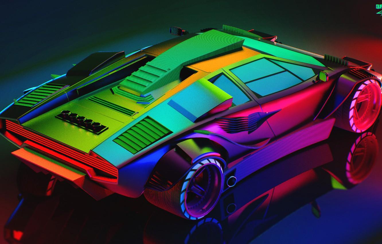 Wallpaper Auto Lamborghini Neon Machine Car Art The View From