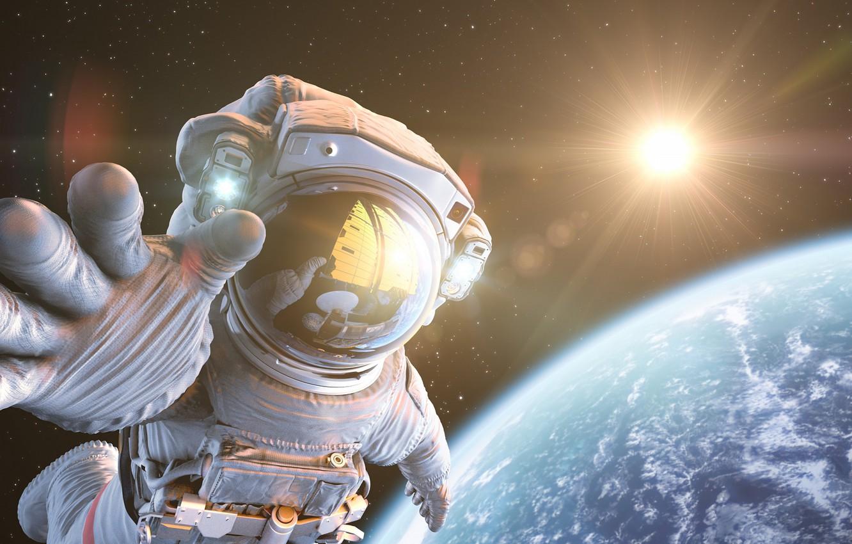 Photo wallpaper planet, hand, astronaut, sci fi
