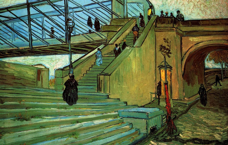 Photo wallpaper bridge, people, ladder, arch, Vincent van Gogh, The Trinquetaille Bridge