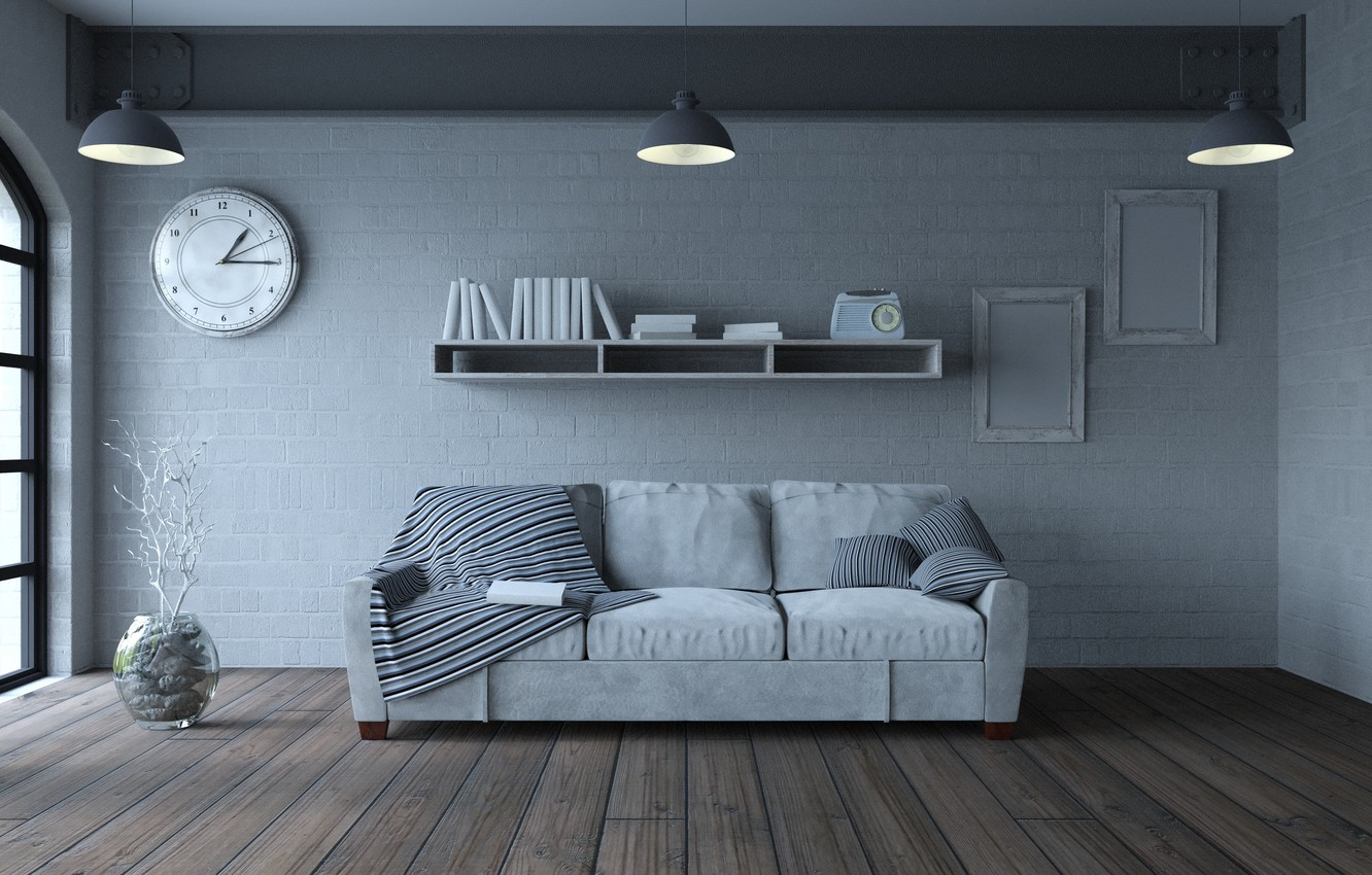 Photo wallpaper design, sofa, interior, pillow, living room, Sofa, Book, Clock, Furniture