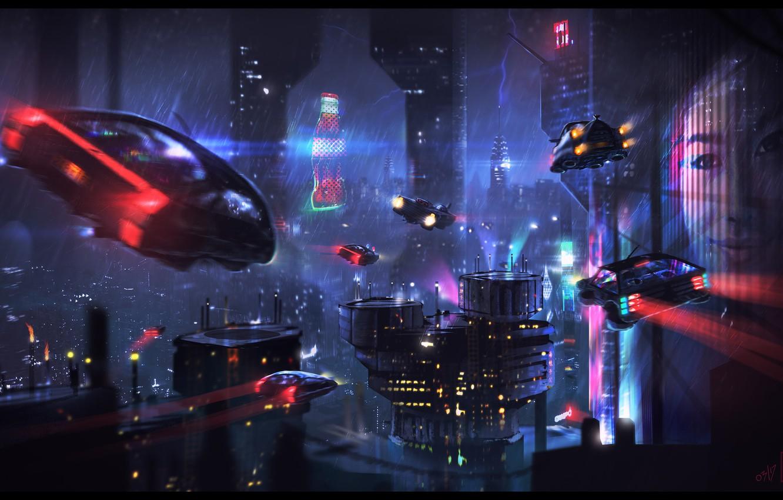 Photo wallpaper Night, The city, Future, Neon, Skyscrapers, Machine, City, Car, Fiction, Neon, Cyberpunk, Dominique van Velsen, ...