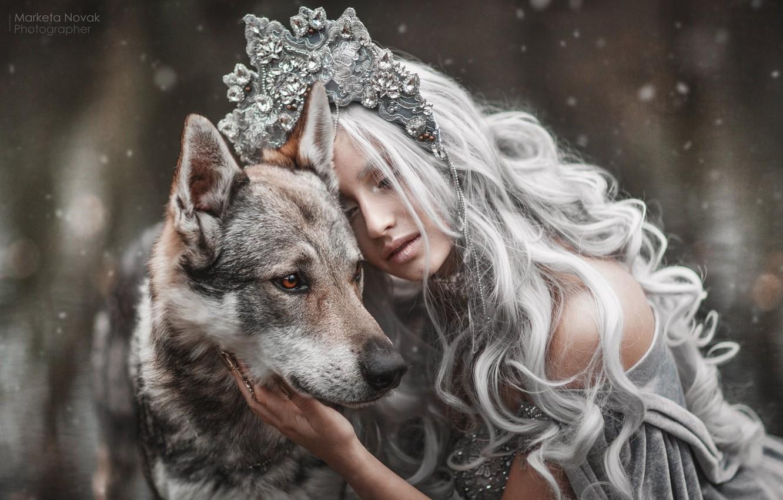 Photo wallpaper girl, style, mood, dog, long hair, Princess, Marketa Novak, Tamara Vaňousová