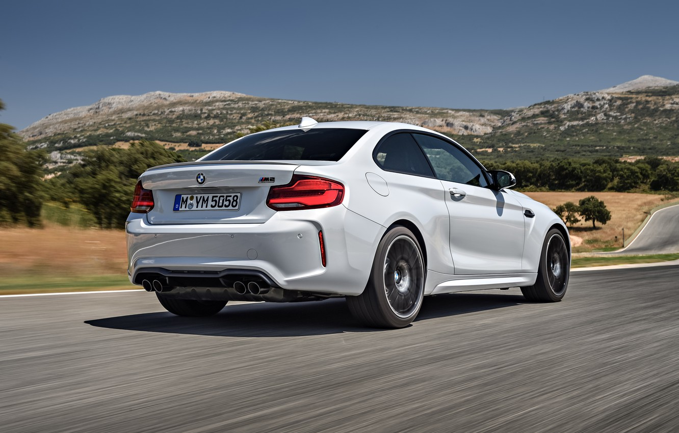 Photo wallpaper vegetation, coupe, BMW, rear view, 2018, F87, M2, M2 Competition