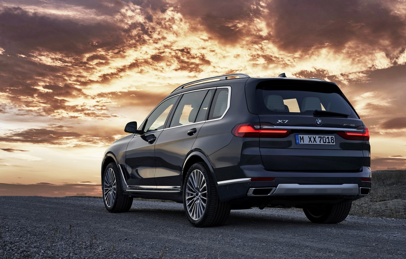 Photo wallpaper the evening, BMW, 2018, crossover, SUV, on the road, 2019, BMW X7, X7, G07