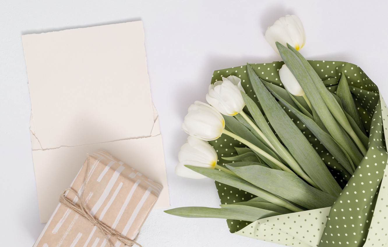 Photo wallpaper gift, bouquet, tape, tulips, white