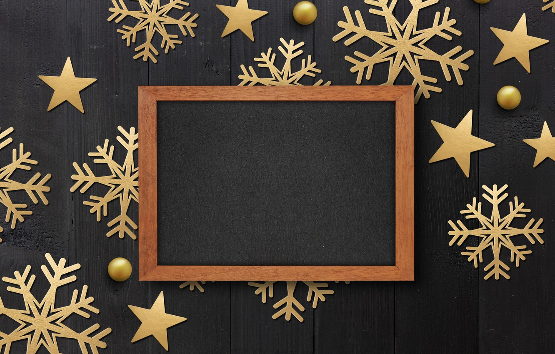 Photo wallpaper winter, snowflakes, frame, golden, black background, black, Christmas, winter, background, snowflakes, frame