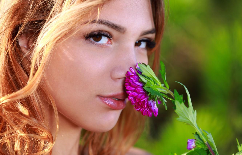 Photo wallpaper flower, eyes, look, face, Alicia Love