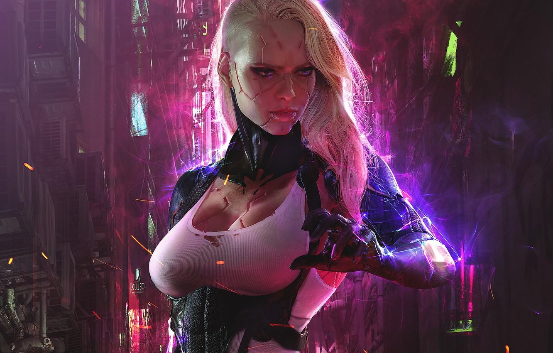 Photo wallpaper girl, fiction, hand, art, cyborg, sci-fi, cyberpunk