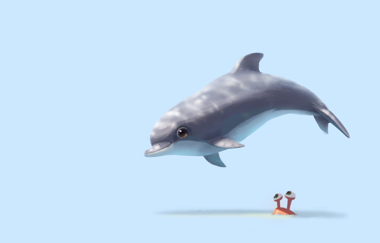 Photo wallpaper Dolphin, mood, art, children's, Lynn Chen, Hi there!
