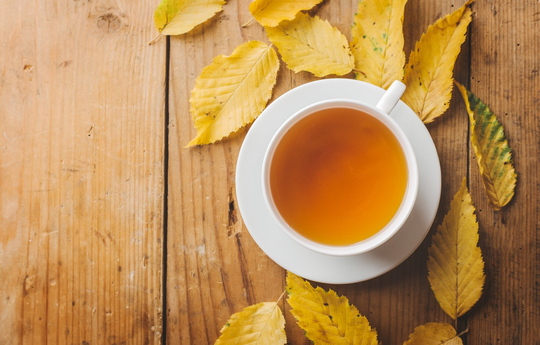 Photo wallpaper autumn, leaves, yellow, yellow, wood, autumn, leaves, cup, autumn, tea, Cup of tea