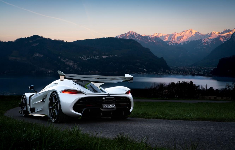 Photo wallpaper water, mountains, Koenigsegg, hypercar, Jesko