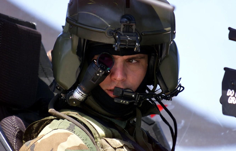 Photo wallpaper helicopter, helmet, cabin, pilot, Apache, AH-64, monocle