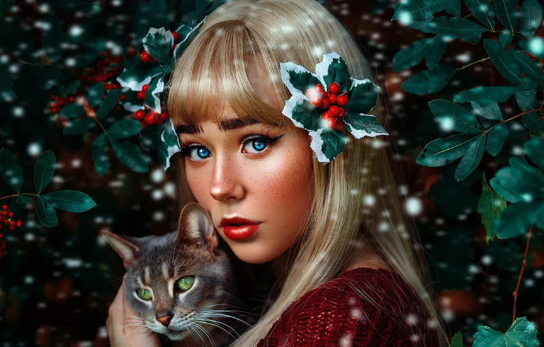 Wallpaper Cat Look Girl Makeup Geo