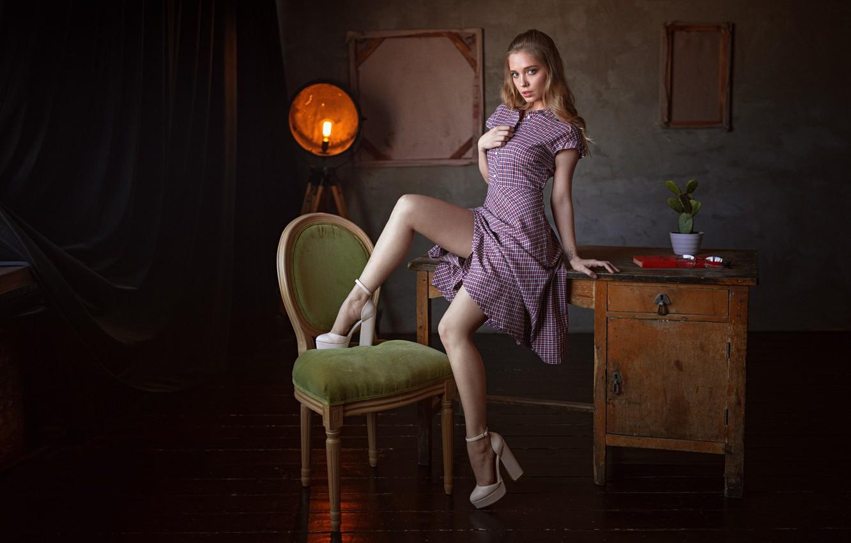 Photo wallpaper girl, dress, legs, brown hair, photo, photographer, blue eyes, model, chair, lips, table, high heels, …
