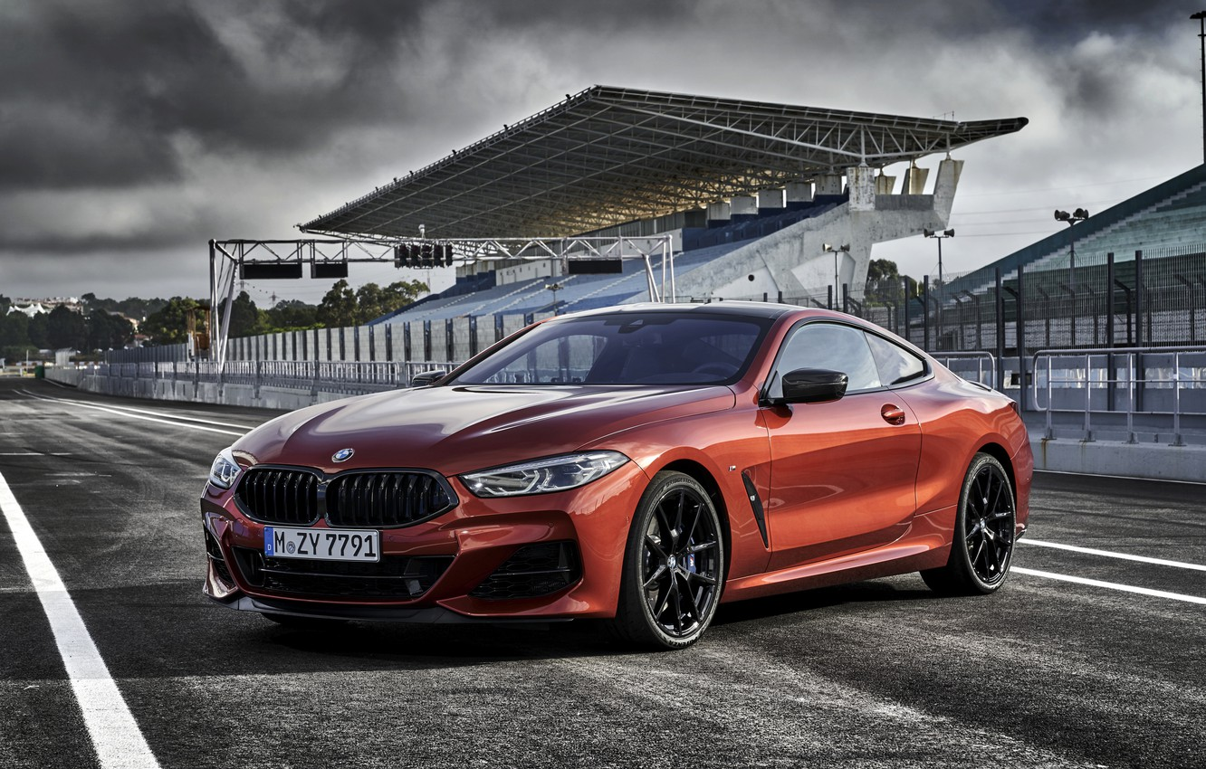 Photo wallpaper road, coupe, BMW, Coupe, 2018, 8-Series, dark orange, M850i xDrive, Eight, G15