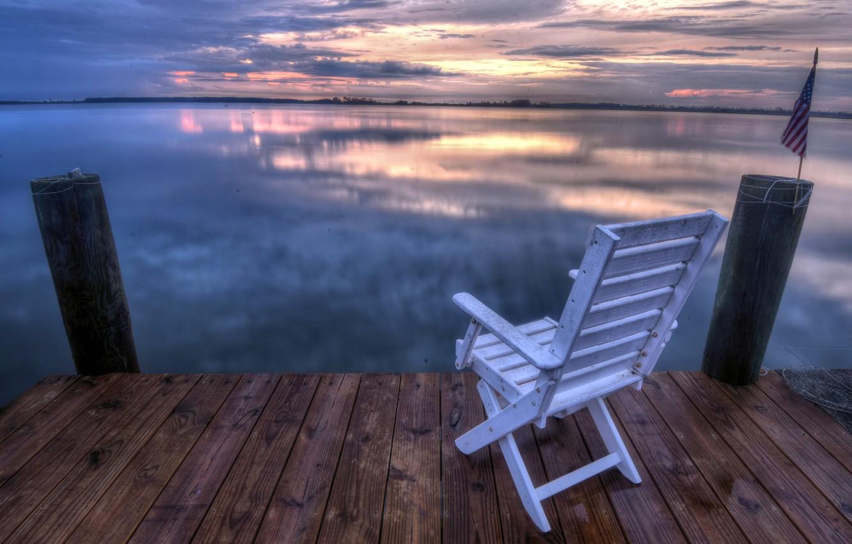 Photo wallpaper sunset, lake, chair