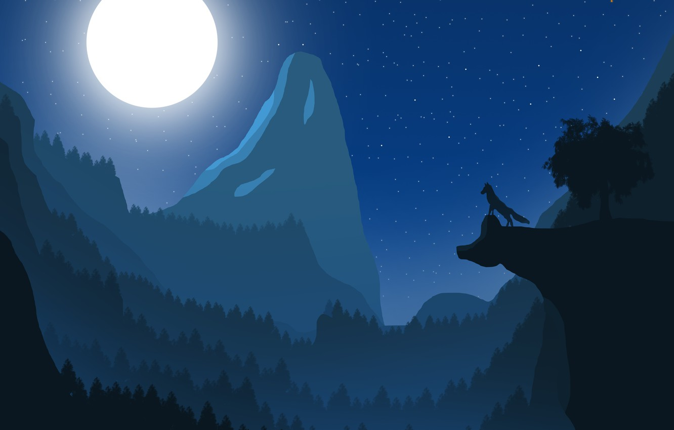 Photo wallpaper landscape, mountains, the moon, wolf, night landscape, Fox, the full moon, fox, wolf, bright moon, …