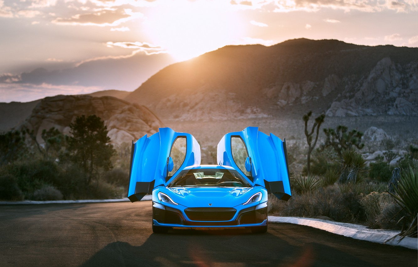 Photo wallpaper sunset, supercar, front view, 2018, Rimac, electric car, C-Two, California Edition