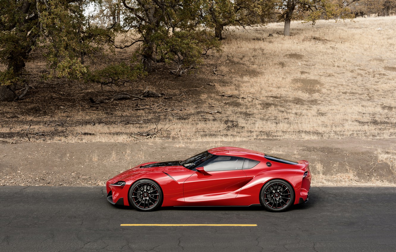Photo wallpaper asphalt, red, coupe, profile, Toyota, 2014, FT-1 Concept