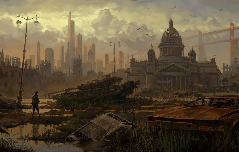 Photo wallpaper Concept, Figure, The city, Future, People, Saint Petersburg, Machine, Destruction, Art, Tank, Art, Concept Art, …