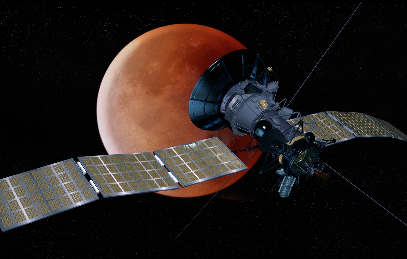 Photo wallpaper space, satellite, blood moon