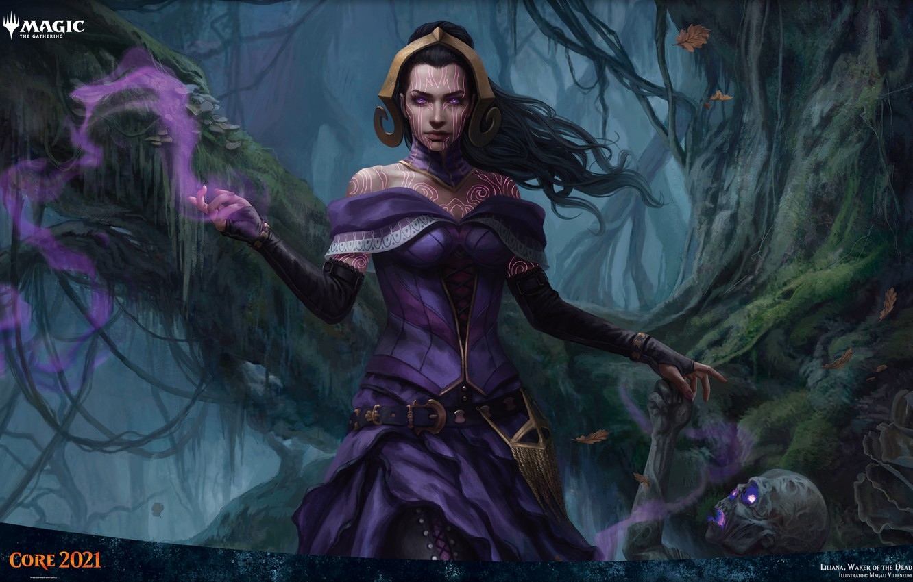 Photo wallpaper girl, zombies, MAG, necromancer, Liliana, Magic: The Gathering, Waker of the Dead