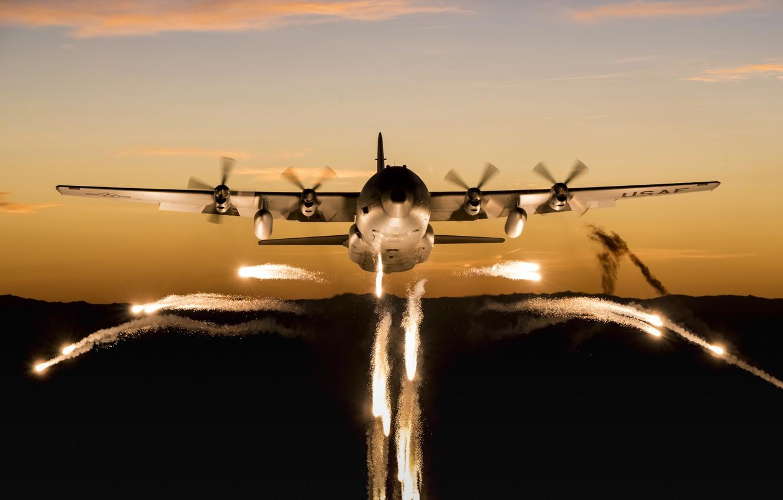 Photo wallpaper Lockheed C-130 Hercules, The main military transport aircraft USA, American military transport aircraft, medium and …