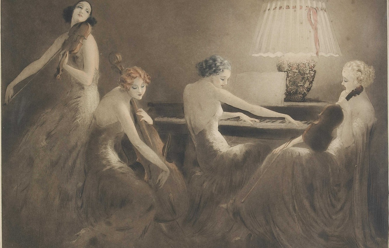Photo wallpaper 1934, Louis Icart, One hour of music