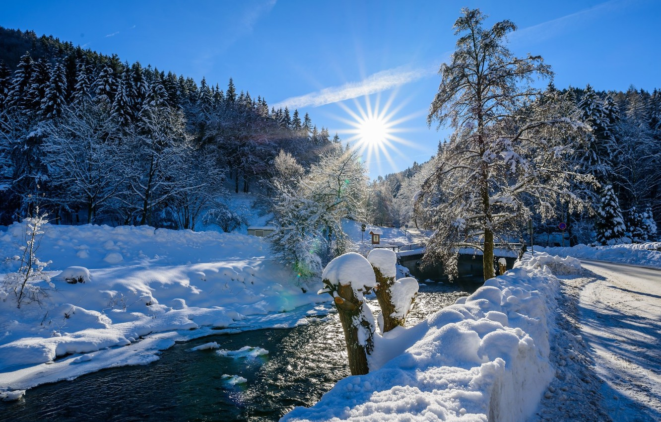 Photo wallpaper winter, snow, river, tree