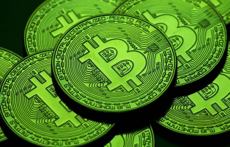 Photo wallpaper green, green, coins, bitcoin, bitcoin, btc