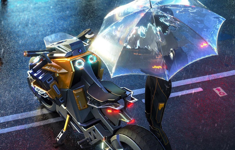 Photo wallpaper rain, transport, umbrella, art, motorcycle, sci-fi