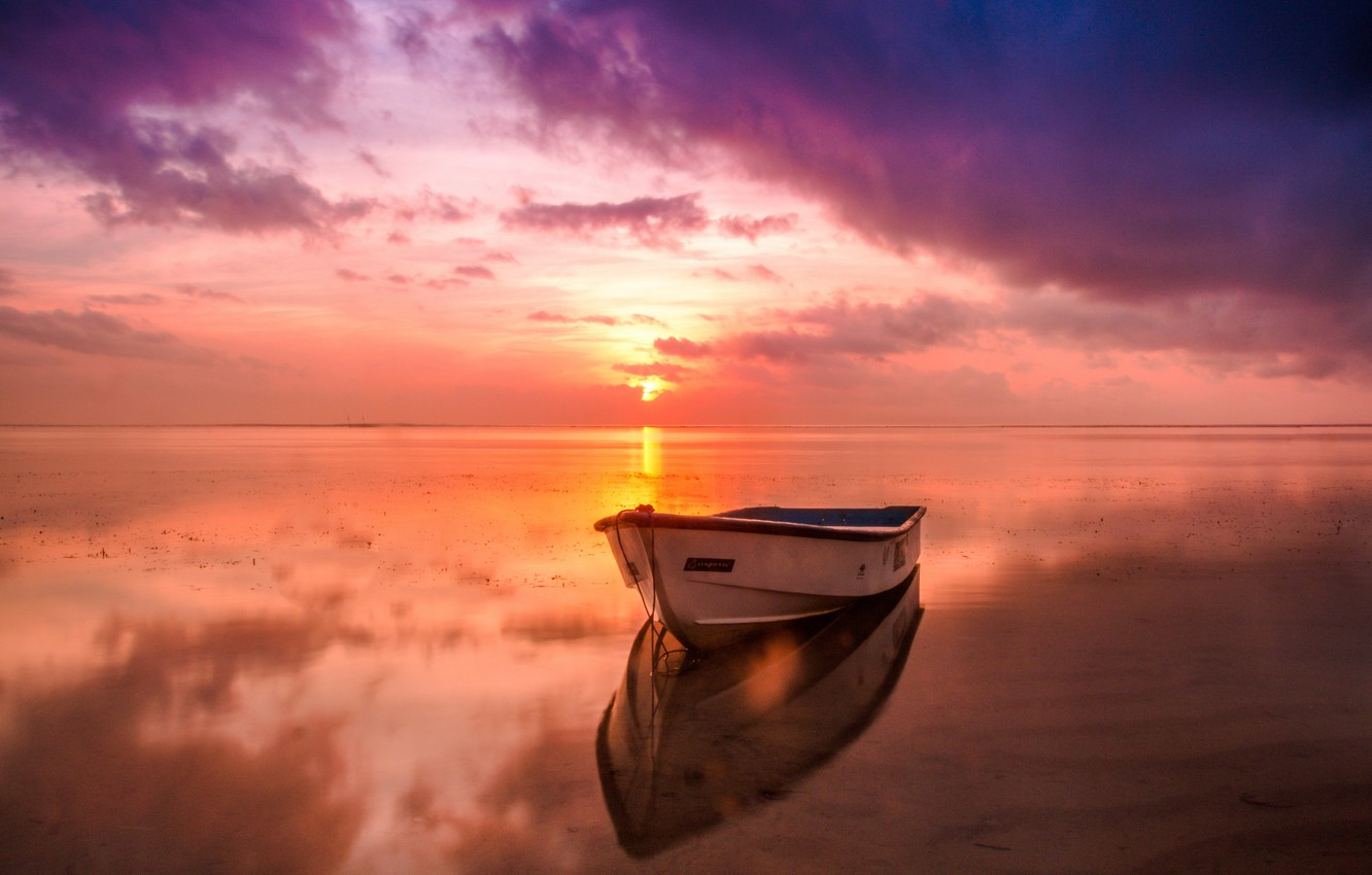 Photo wallpaper the sky, water, sunset, photo, boat