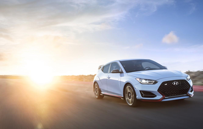Photo wallpaper sunset, Hyundai, hatchback, 2018, Veloster N