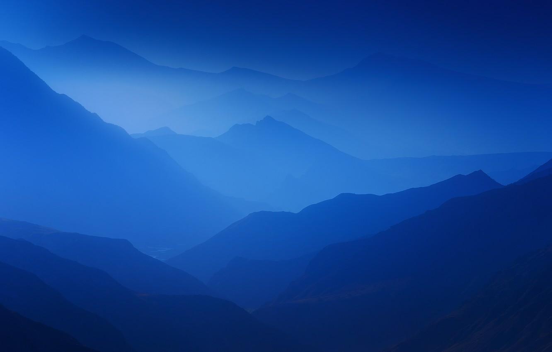 Photo wallpaper mountains, fog, mountains, fog