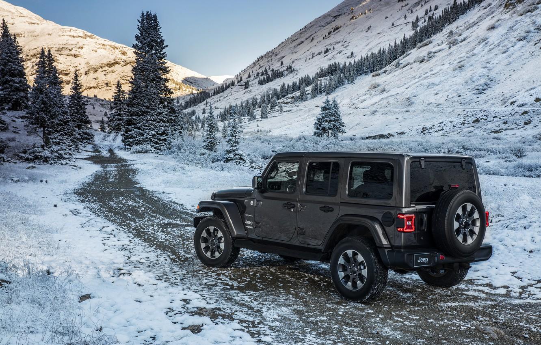 Photo wallpaper road, snow, mountains, 2018, Jeep, dark gray, Wrangler Sahara