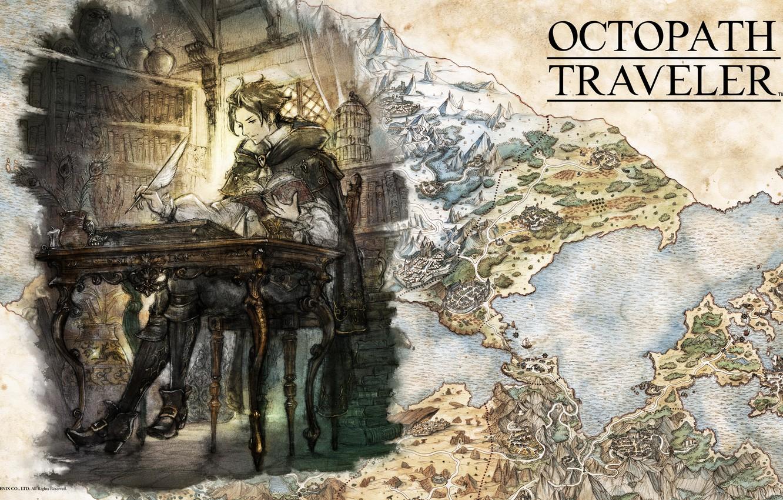 Photo wallpaper fantasy, game, map, digital art, professor, artwork, fantasy art, books, teacher, Octopath Traveler, Cyrus Albright