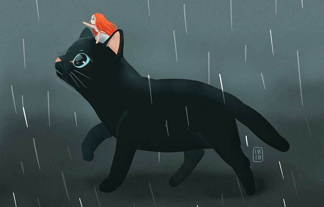 Photo wallpaper rain, fantasy, girl, black cat